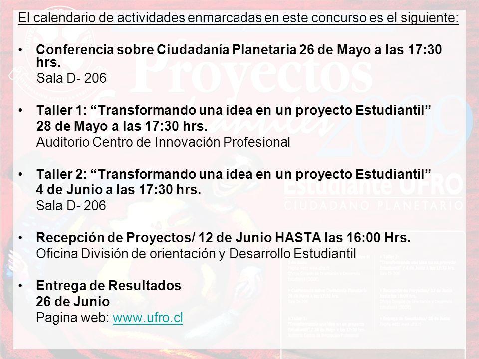 El calendario de actividades enmarcadas en este concurso es el siguiente: Conferencia sobre Ciudadanía Planetaria 26 de Mayo a las 17:30 hrs. Sala D-
