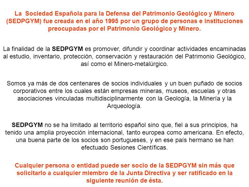 2007, SEDPGYM celebra su 12ª Sesión Científica y 8º Congreso Internacional sobre el Patrimonio Geológico y Minero, y lo hace en Mieres (Asturias), bajo el epígrafe de Nuevas Perspectivas para la Protección y Desarrollo del Legado Geológico y Minero En Enero de este mismo año SEDPGYM editaba el nº 1 de su Boletín Informativo y en junio el nº 8 de la revista De Re Metallica También en este año 2007 se crea un premio al mejor artículo relacionado con nuestros principios sociales y que llevará el nombre del recordado Francisco Javier Ayala-Carcedo.