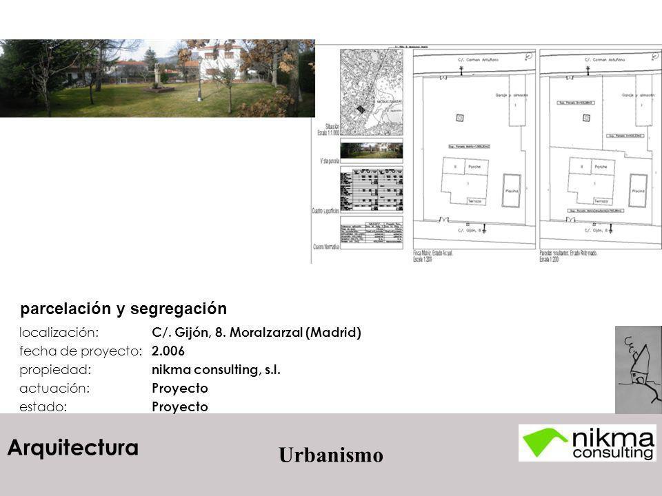 Arquitectura Urbanismo localización: C/. Gijón, 8. Moralzarzal (Madrid) fecha de proyecto: 2.006 propiedad: nikma consulting, s.l. actuación: Proyecto