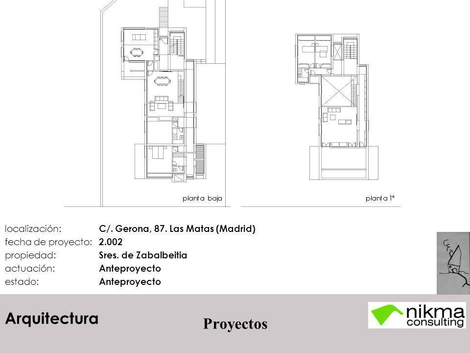 Arquitectura Proyectos localización: C/. Gerona, 87. Las Matas (Madrid) fecha de proyecto: 2.002 propiedad: Sres. de Zabalbeitia actuación: Anteproyec