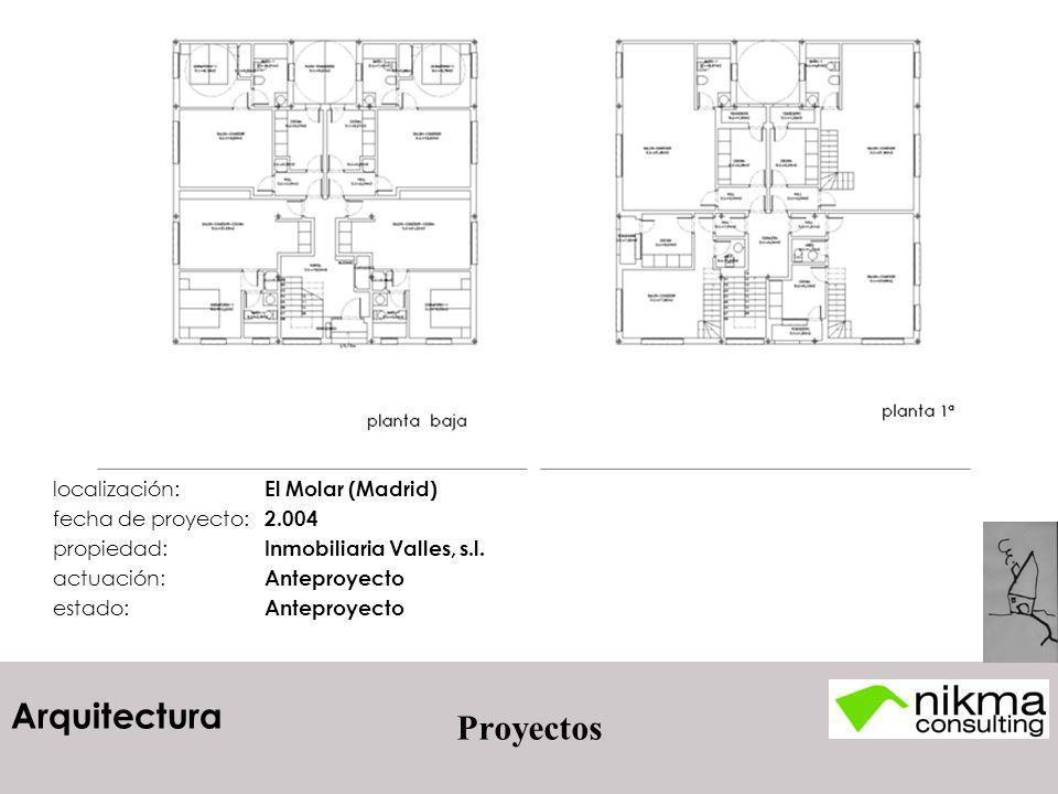 Arquitectura Proyectos localización: El Molar (Madrid) fecha de proyecto: 2.004 propiedad: Inmobiliaria Valles, s.l. actuación: Anteproyecto estado: A