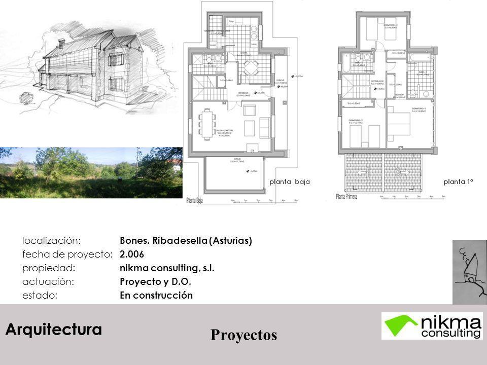 Arquitectura Proyectos localización: Bones. Ribadesella (Asturias) fecha de proyecto: 2.006 propiedad: nikma consulting, s.l. actuación: Proyecto y D.