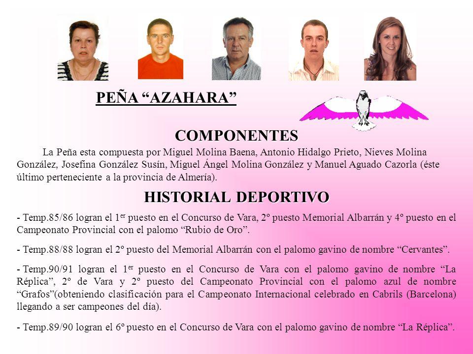 PEÑA AZAHARA COMPONENTES La Peña esta compuesta por Miguel Molina Baena, Antonio Hidalgo Prieto, Nieves Molina González, Josefina González Susín, Miguel Ángel Molina González y Manuel Aguado Cazorla (éste último perteneciente a la provincia de Almería).