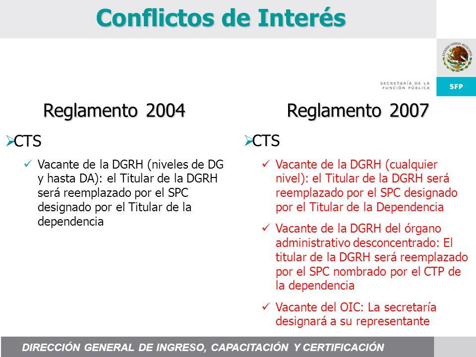 Conflictos de Interés Reglamento 2004 Reglamento 2007 CTS Vacante de la DGRH (cualquier nivel): el Titular de la DGRH será reemplazado por el SPC desi
