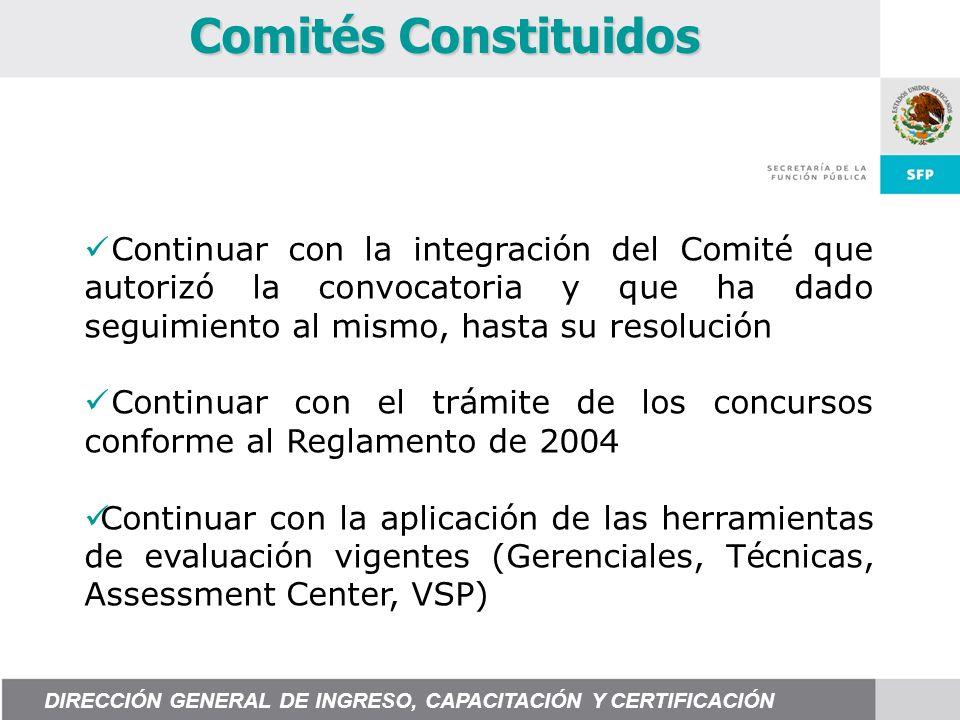 Continuar con la integración del Comité que autorizó la convocatoria y que ha dado seguimiento al mismo, hasta su resolución Continuar con el trámite