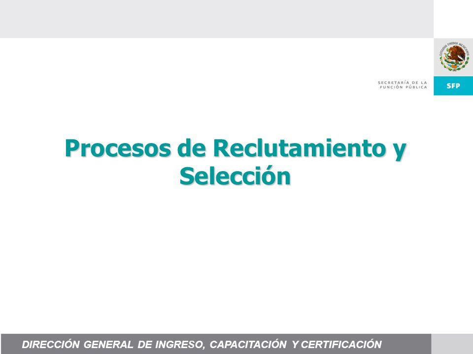 Procesos de Reclutamiento y Selección DIRECCIÓN GENERAL DE INGRESO, CAPACITACIÓN Y CERTIFICACIÓN