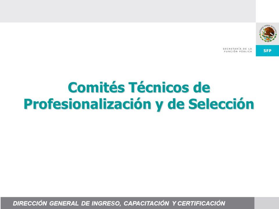 Comités Técnicos de Profesionalización y de Selección DIRECCIÓN GENERAL DE INGRESO, CAPACITACIÓN Y CERTIFICACIÓN