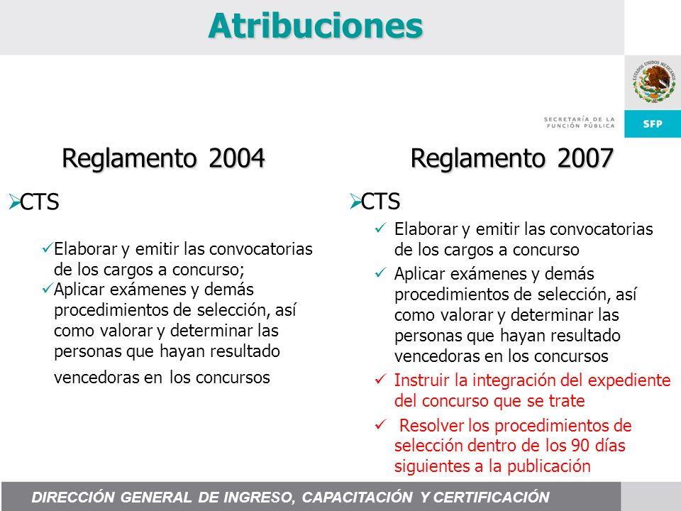 Atribuciones Reglamento 2004 Reglamento 2007 CTS Elaborar y emitir las convocatorias de los cargos a concurso Aplicar exámenes y demás procedimientos
