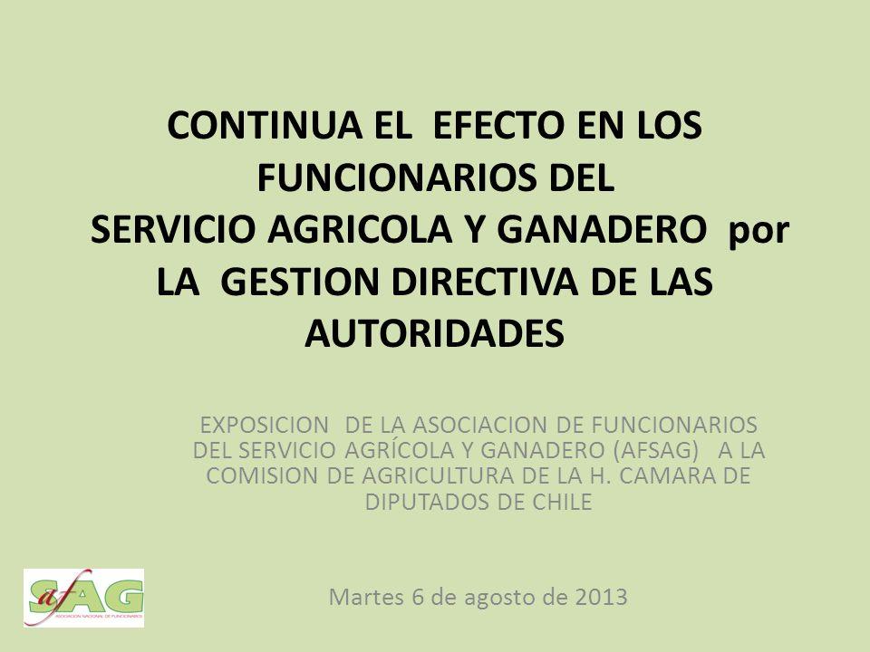 CONTINUA EL EFECTO EN LOS FUNCIONARIOS DEL SERVICIO AGRICOLA Y GANADERO por LA GESTION DIRECTIVA DE LAS AUTORIDADES EXPOSICION DE LA ASOCIACION DE FUNCIONARIOS DEL SERVICIO AGRÍCOLA Y GANADERO (AFSAG) A LA COMISION DE AGRICULTURA DE LA H.