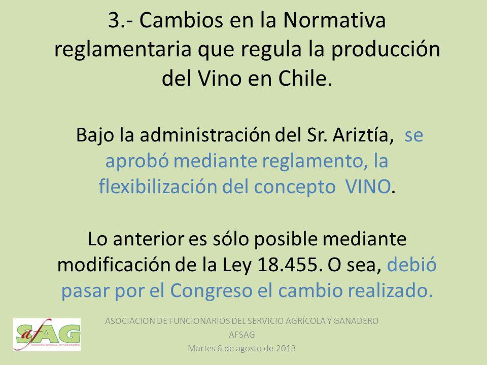 3.- Cambios en la Normativa reglamentaria que regula la producción del Vino en Chile. Bajo la administración del Sr. Ariztía, se aprobó mediante regla