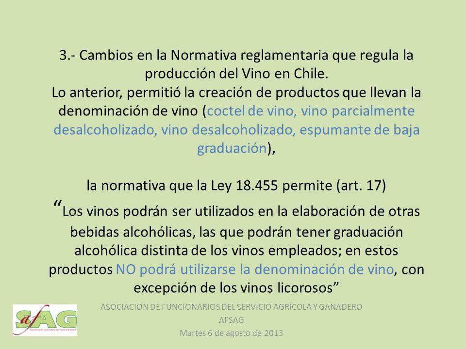 3.- Cambios en la Normativa reglamentaria que regula la producción del Vino en Chile. Lo anterior, permitió la creación de productos que llevan la den