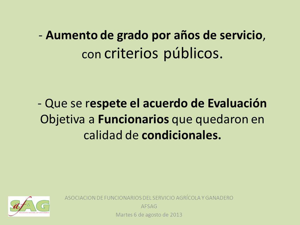 - Aumento de grado por años de servicio, con criterios públicos.