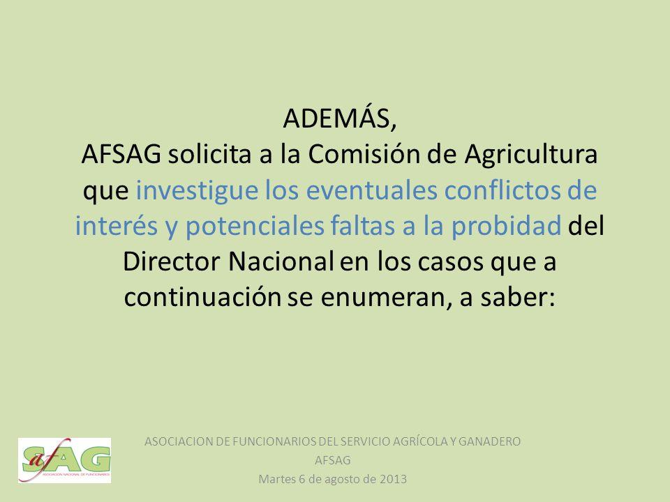 ADEMÁS, AFSAG solicita a la Comisión de Agricultura que investigue los eventuales conflictos de interés y potenciales faltas a la probidad del Directo