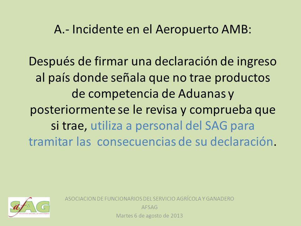 A.- Incidente en el Aeropuerto AMB: Después de firmar una declaración de ingreso al país donde señala que no trae productos de competencia de Aduanas