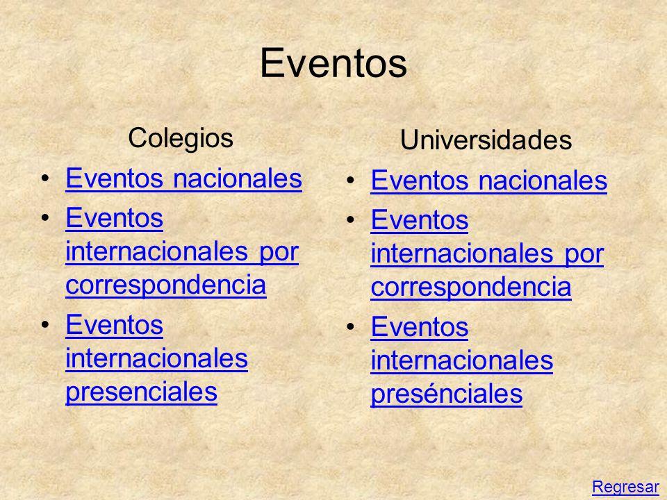 Eventos Colegios Eventos nacionales Eventos internacionales por correspondenciaEventos internacionales por correspondencia Eventos internacionales pre