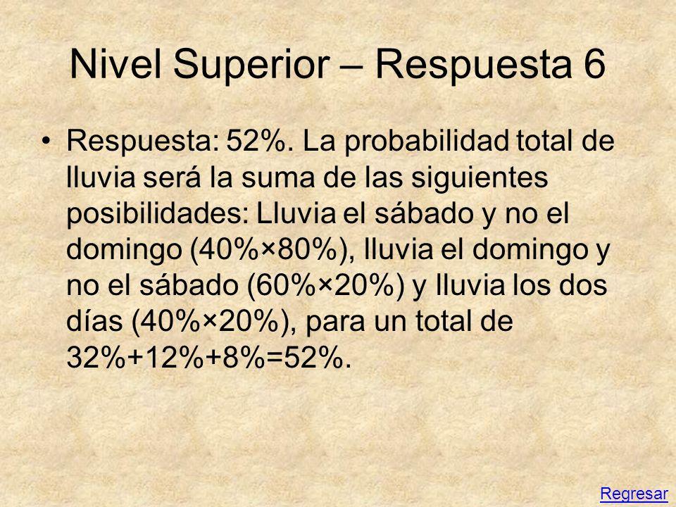 Nivel Superior – Respuesta 6 Respuesta: 52%. La probabilidad total de lluvia será la suma de las siguientes posibilidades: Lluvia el sábado y no el do