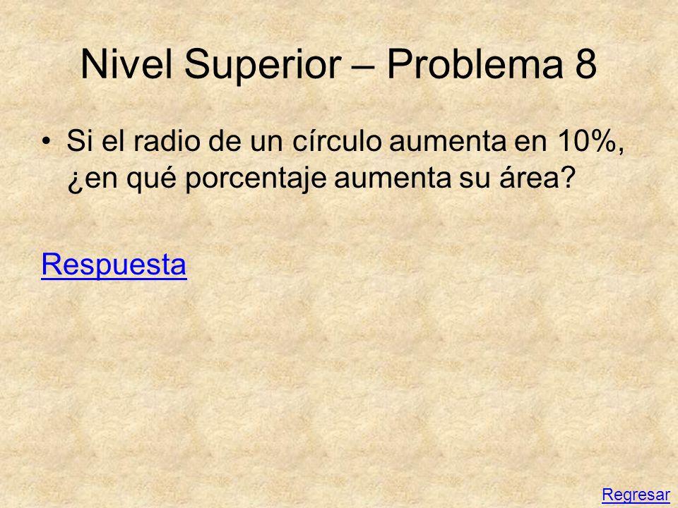 Nivel Superior – Problema 8 Si el radio de un círculo aumenta en 10%, ¿en qué porcentaje aumenta su área? Respuesta Regresar