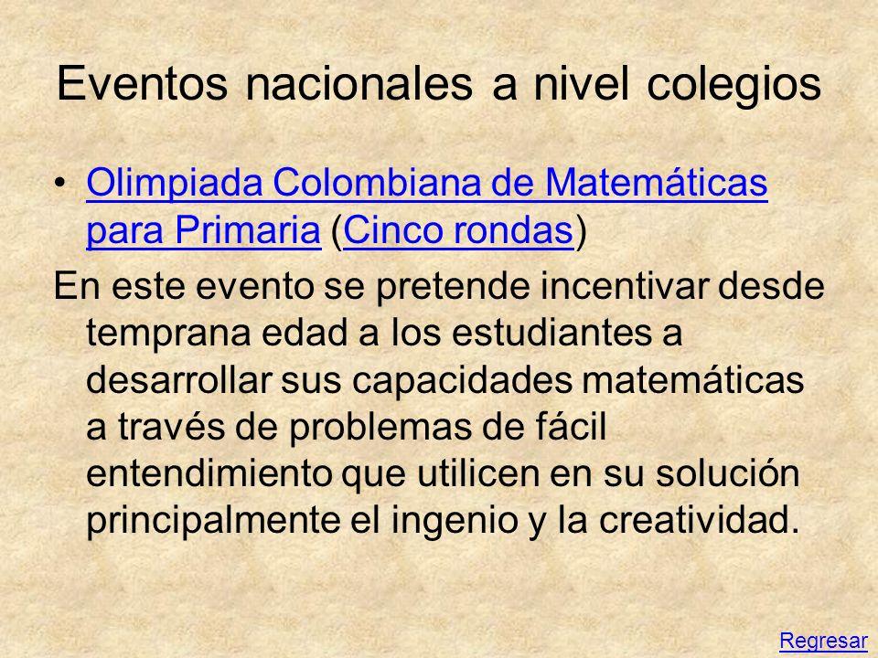 Eventos nacionales a nivel colegios Olimpiada Colombiana de Matemáticas para Primaria (Cinco rondas)Olimpiada Colombiana de Matemáticas para PrimariaC
