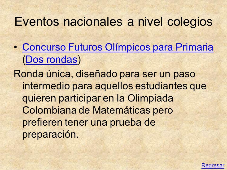 Eventos nacionales a nivel colegios Concurso Futuros Olímpicos para Primaria (Dos rondas)Concurso Futuros Olímpicos para PrimariaDos rondas Ronda únic