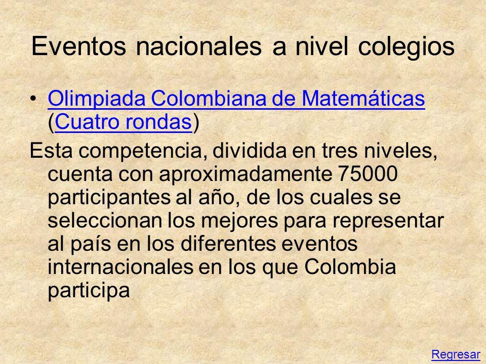 Eventos nacionales a nivel colegios Olimpiada Colombiana de Matemáticas (Cuatro rondas)Olimpiada Colombiana de MatemáticasCuatro rondas Esta competenc
