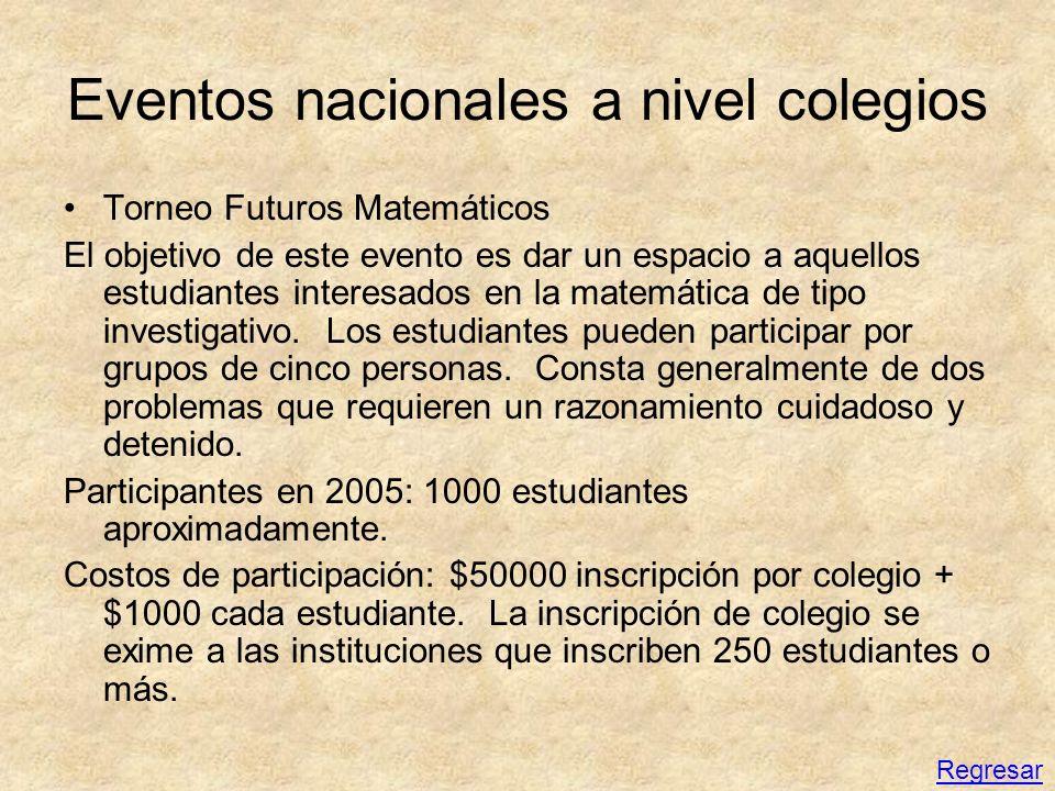 Eventos nacionales a nivel colegios Torneo Futuros Matemáticos El objetivo de este evento es dar un espacio a aquellos estudiantes interesados en la m