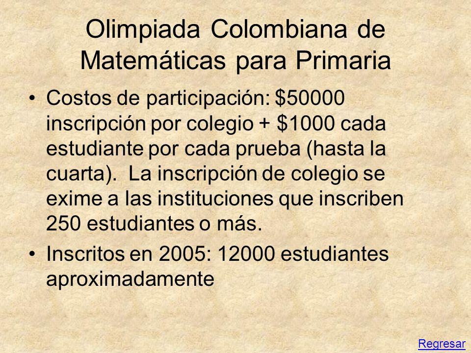 Olimpiada Colombiana de Matemáticas para Primaria Costos de participación: $50000 inscripción por colegio + $1000 cada estudiante por cada prueba (has