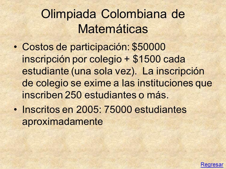 Olimpiada Colombiana de Matemáticas Costos de participación: $50000 inscripción por colegio + $1500 cada estudiante (una sola vez). La inscripción de