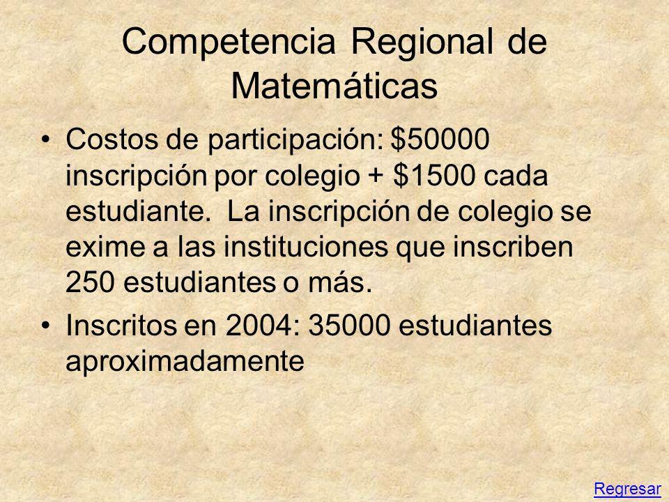Competencia Regional de Matemáticas Costos de participación: $50000 inscripción por colegio + $1500 cada estudiante. La inscripción de colegio se exim