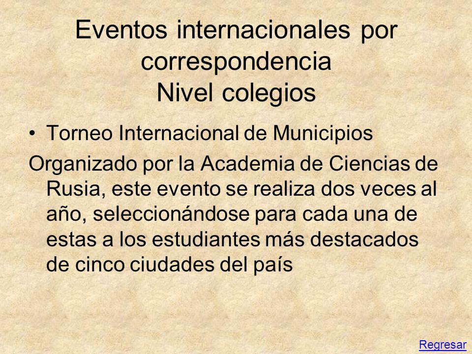 Eventos internacionales por correspondencia Nivel colegios Torneo Internacional de Municipios Organizado por la Academia de Ciencias de Rusia, este ev