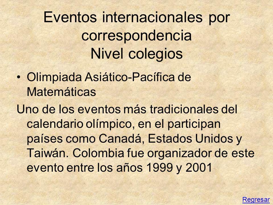 Eventos internacionales por correspondencia Nivel colegios Olimpiada Asiático-Pacífica de Matemáticas Uno de los eventos más tradicionales del calenda