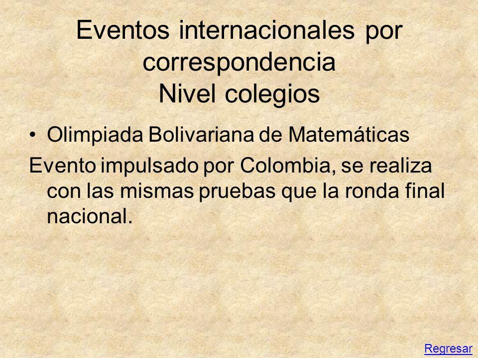 Eventos internacionales por correspondencia Nivel colegios Olimpiada Bolivariana de Matemáticas Evento impulsado por Colombia, se realiza con las mism
