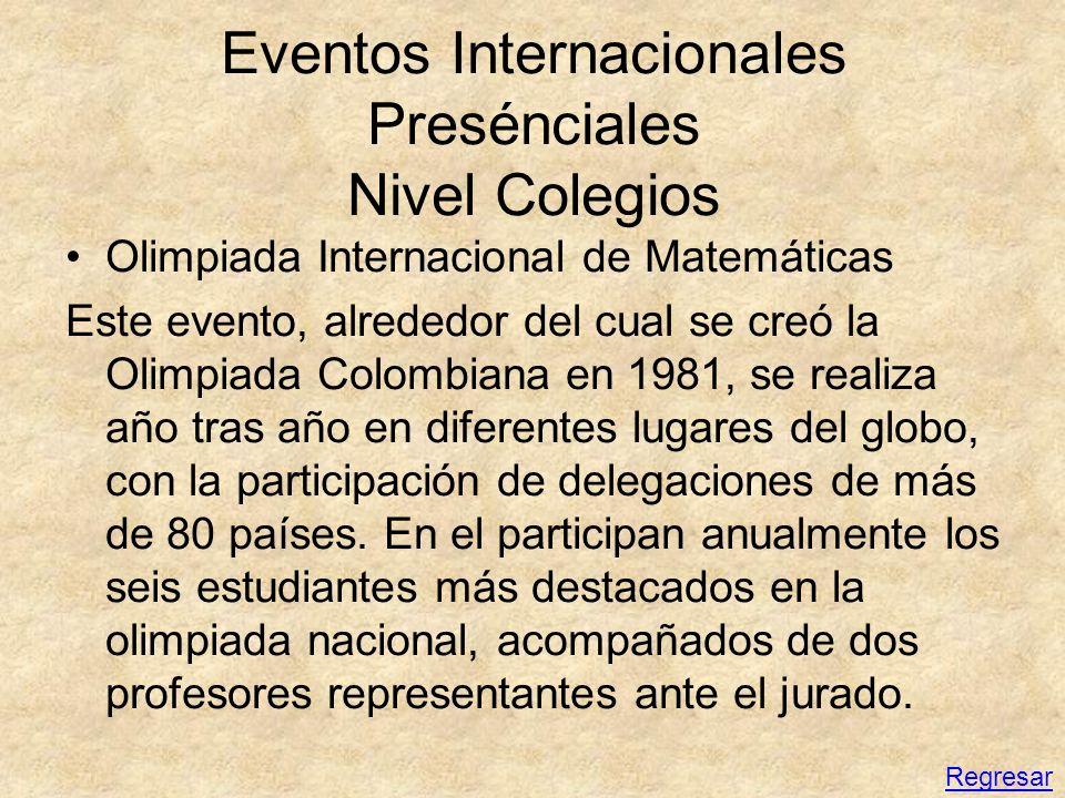 Eventos Internacionales Presénciales Nivel Colegios Olimpiada Internacional de Matemáticas Este evento, alrededor del cual se creó la Olimpiada Colomb