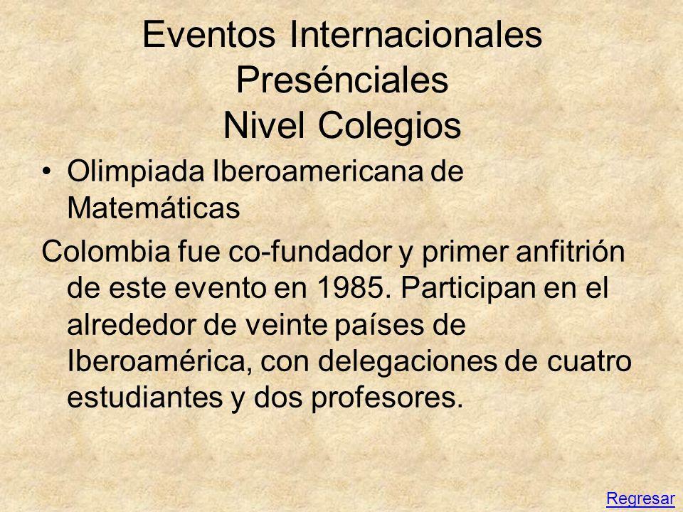 Eventos Internacionales Presénciales Nivel Colegios Olimpiada Iberoamericana de Matemáticas Colombia fue co-fundador y primer anfitrión de este evento