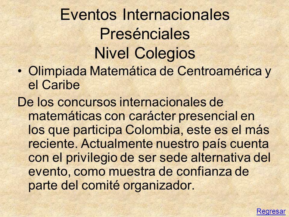 Eventos Internacionales Presénciales Nivel Colegios Olimpiada Matemática de Centroamérica y el Caribe De los concursos internacionales de matemáticas
