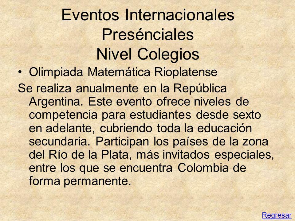 Eventos Internacionales Presénciales Nivel Colegios Olimpiada Matemática Rioplatense Se realiza anualmente en la República Argentina. Este evento ofre