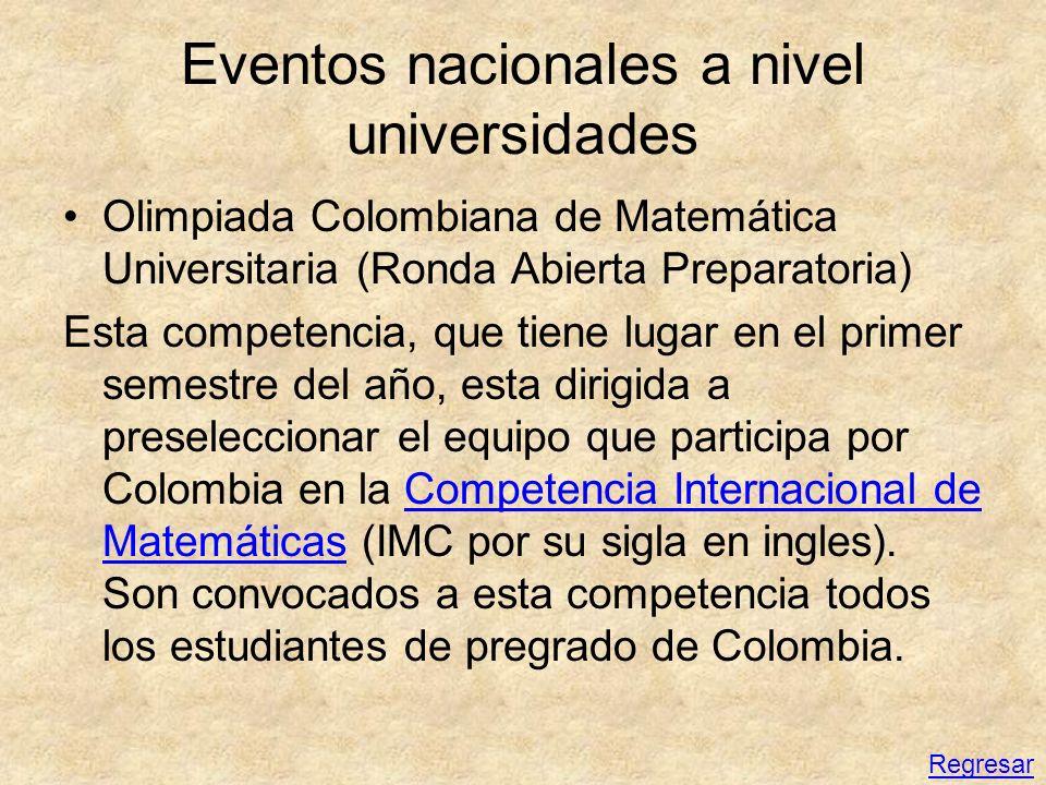 Eventos nacionales a nivel universidades Olimpiada Colombiana de Matemática Universitaria (Ronda Abierta Preparatoria) Esta competencia, que tiene lug