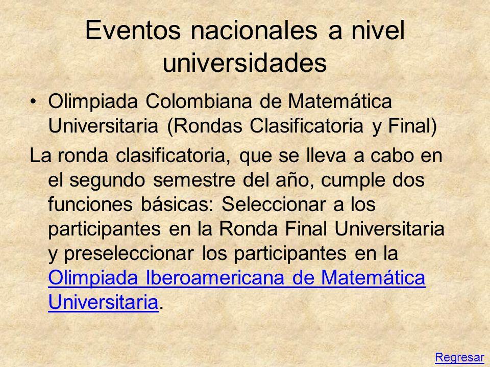 Eventos nacionales a nivel universidades Olimpiada Colombiana de Matemática Universitaria (Rondas Clasificatoria y Final) La ronda clasificatoria, que