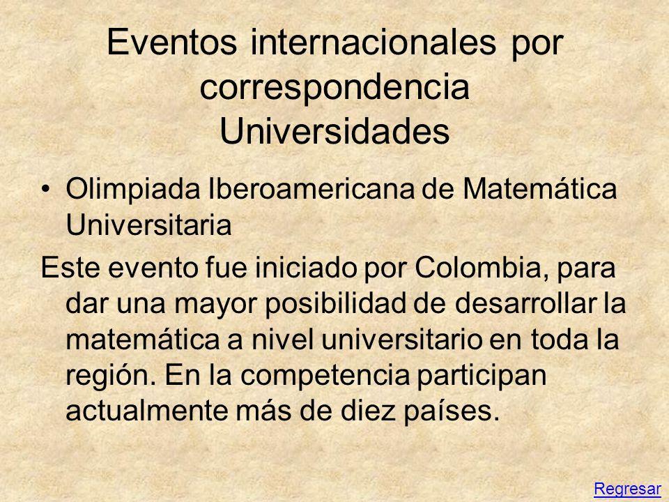 Eventos internacionales por correspondencia Universidades Olimpiada Iberoamericana de Matemática Universitaria Este evento fue iniciado por Colombia,