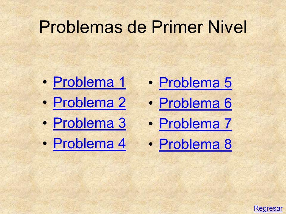Problemas de Primer Nivel Problema 1 Problema 2 Problema 3 Problema 4 Problema 5 Problema 6 Problema 7 Problema 8 Regresar