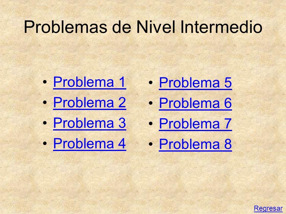 Problemas de Nivel Intermedio Problema 1 Problema 2 Problema 3 Problema 4 Problema 5 Problema 6 Problema 7 Problema 8 Regresar
