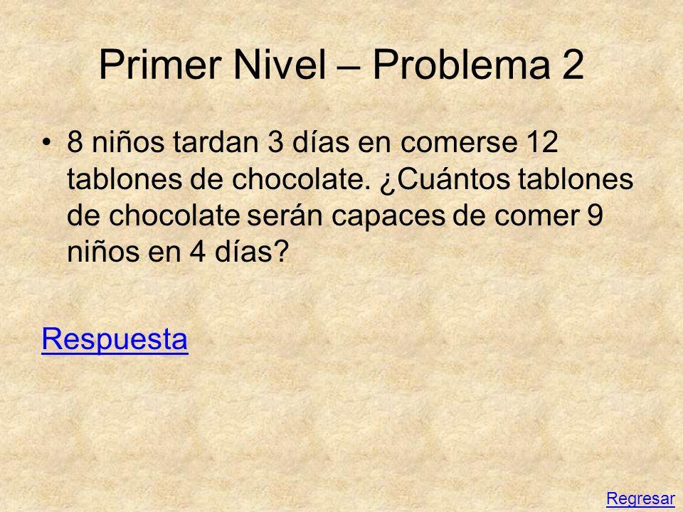 Primer Nivel – Problema 2 8 niños tardan 3 días en comerse 12 tablones de chocolate. ¿Cuántos tablones de chocolate serán capaces de comer 9 niños en