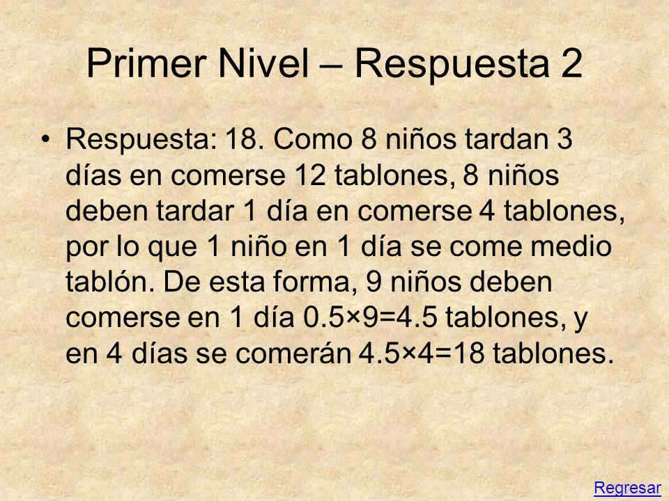 Primer Nivel – Respuesta 2 Respuesta: 18. Como 8 niños tardan 3 días en comerse 12 tablones, 8 niños deben tardar 1 día en comerse 4 tablones, por lo