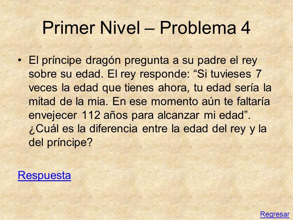 Primer Nivel – Problema 4 El príncipe dragón pregunta a su padre el rey sobre su edad. El rey responde: Si tuvieses 7 veces la edad que tienes ahora,