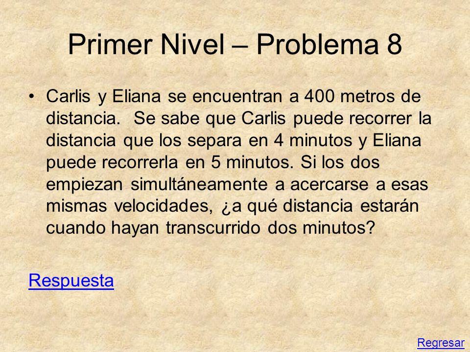 Primer Nivel – Problema 8 Carlis y Eliana se encuentran a 400 metros de distancia. Se sabe que Carlis puede recorrer la distancia que los separa en 4