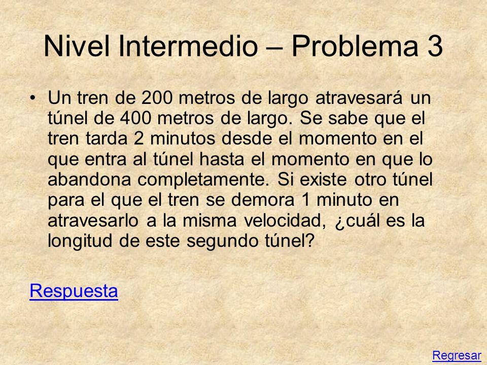 Nivel Intermedio – Problema 3 Un tren de 200 metros de largo atravesará un túnel de 400 metros de largo. Se sabe que el tren tarda 2 minutos desde el
