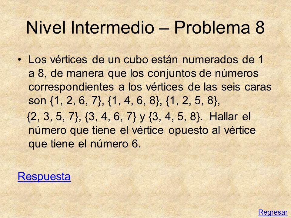 Nivel Intermedio – Problema 8 Los vértices de un cubo están numerados de 1 a 8, de manera que los conjuntos de números correspondientes a los vértices