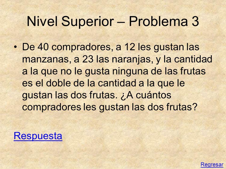 Nivel Superior – Problema 3 De 40 compradores, a 12 les gustan las manzanas, a 23 las naranjas, y la cantidad a la que no le gusta ninguna de las frut