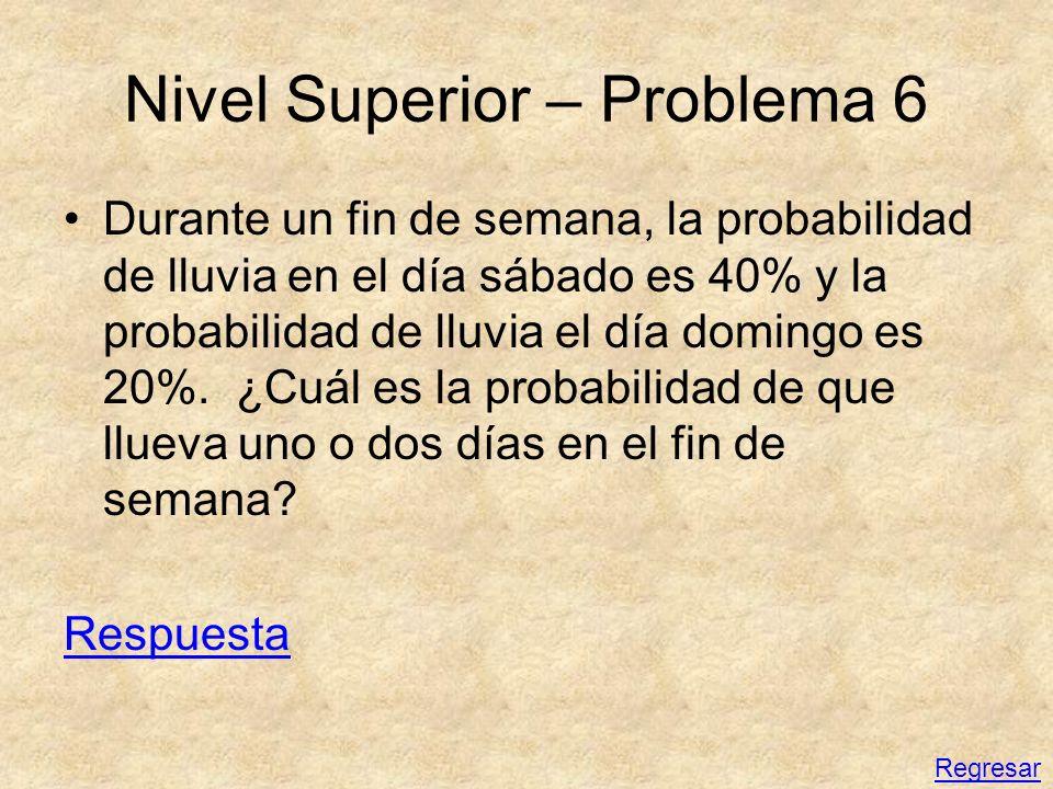 Nivel Superior – Problema 6 Durante un fin de semana, la probabilidad de lluvia en el día sábado es 40% y la probabilidad de lluvia el día domingo es