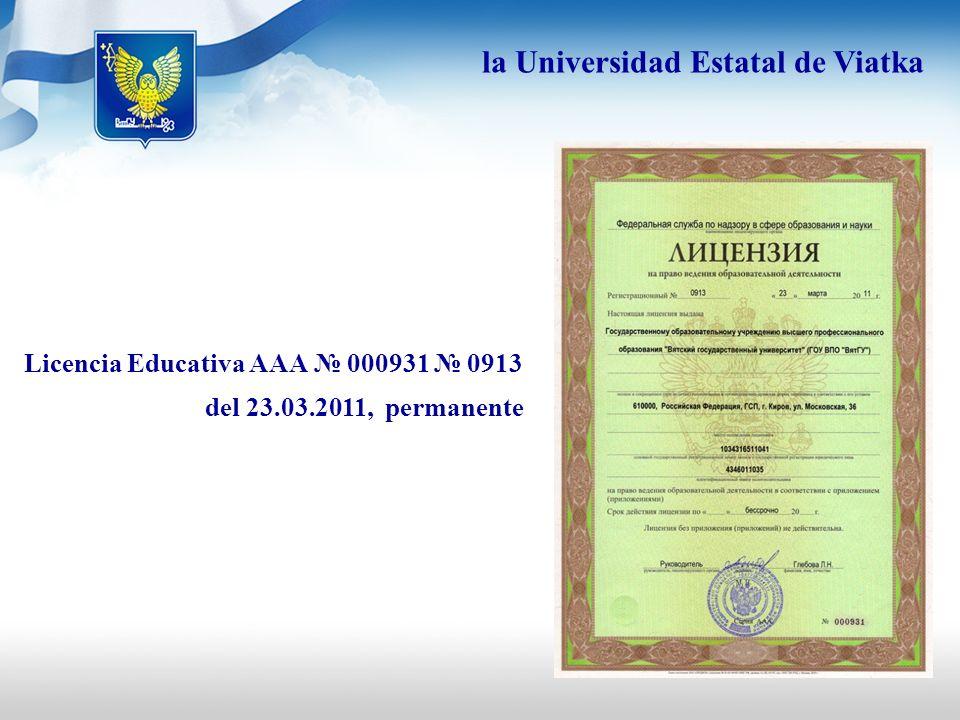 Certificado de acreditación estatal: ВВ 000603 número de registro 0596 del 20.07.2010., válido hasta 20.07.2015