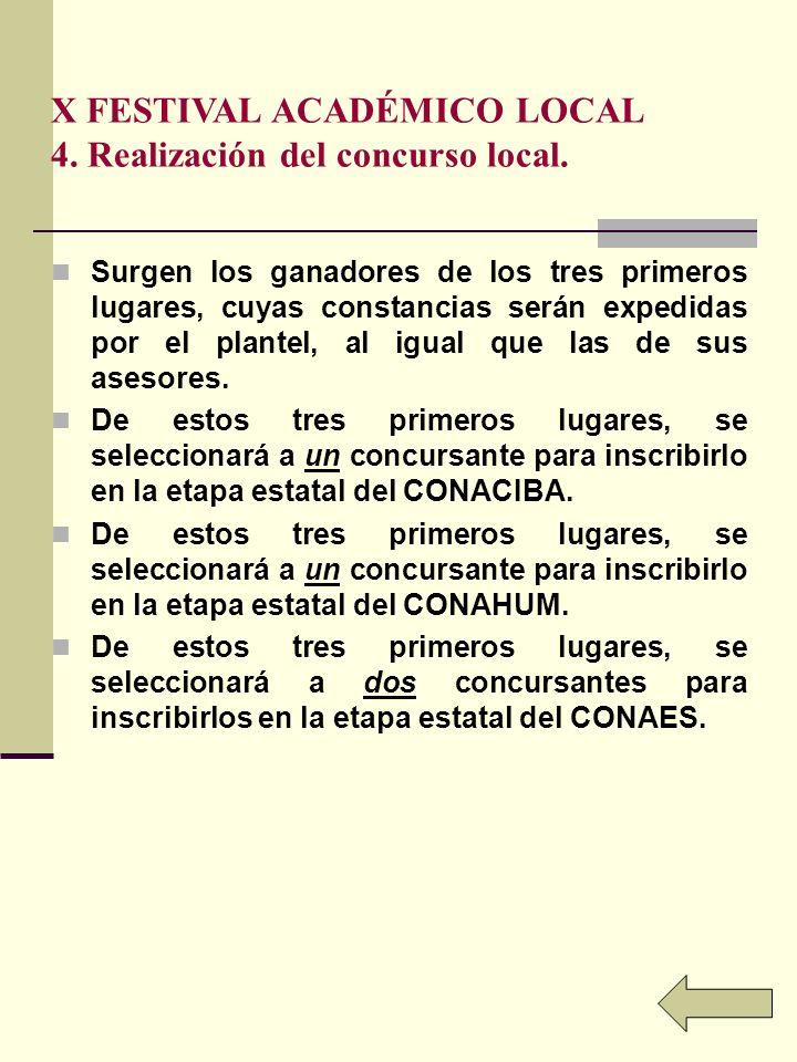 X FESTIVAL ACADÉMICO LOCAL 4.Realización del concurso local.